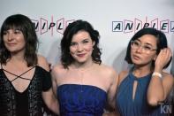 (Left) Cassandra Lee Morris [Leafa / Suguha Kirigaya]; (Middle) Cherami Leigh [Asuna Yuuki]; (Right) Christine M. Cabanos [Silica / Keiko Ayano]