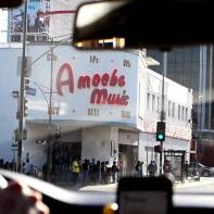 Amoeba front entrance. Line was already outsde.