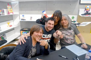 (Left to Right) Mr.Iizuka Takashi; Johnny Gioeli; Krystal & Jun Senoue