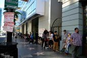 Fans waiting to enter the Montalbán theater...
