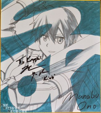 Exclusive Shishiki of Manabu Ono's Kirito sketch [This was signed by Kirito's English voice actor, Bryce Papenbrook]