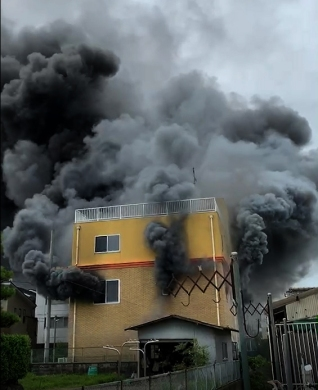 KyoAni building engulfed in thick smoke | Photo Credit: The Kyoto Shimbun