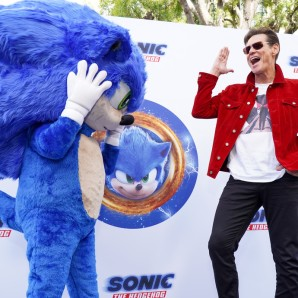 Sonic mascot and Jim Carrey